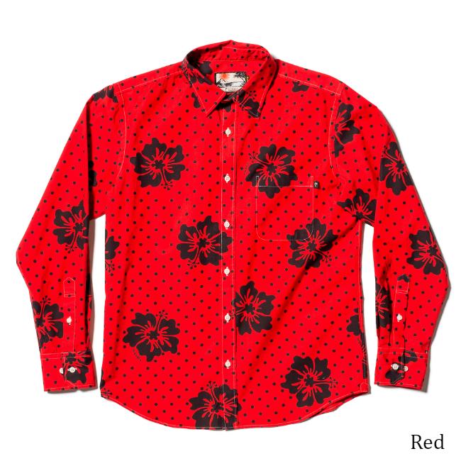 メンズ レギュラーカラー長袖シャツ/Marrble Hibiscus